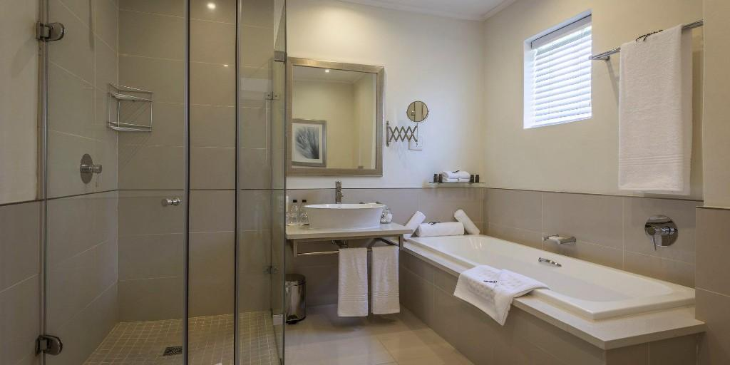 Bathrooms at Fancourt are spacious and feature luxury toiletries