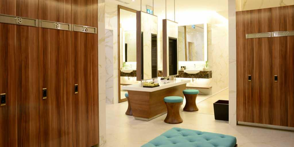 VIP locker rooms with fully private lockers and bathrooms