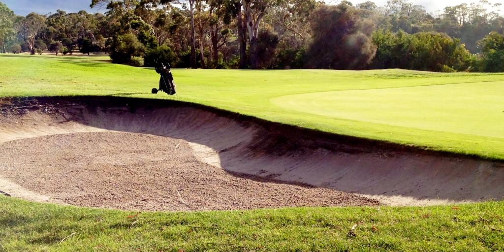 The strategically placed green-side bunkers at Tasmania GC