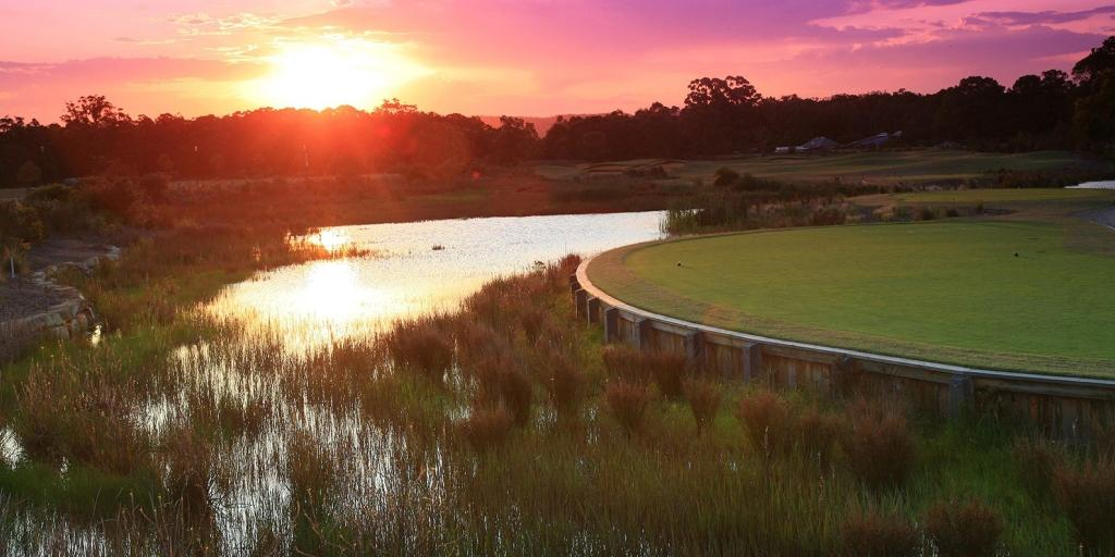 Sunset on the 16th at Kooindah Waters GC