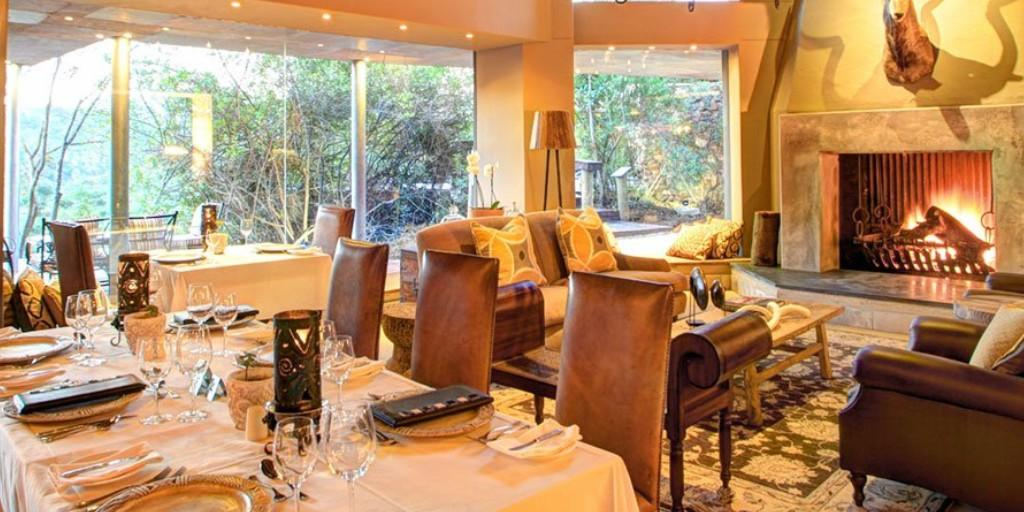 The intimate open plan Fireplace Restaurant offers authentic South African Meals