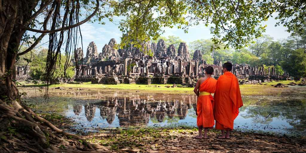 Young monks at Angkor Vat temple complex